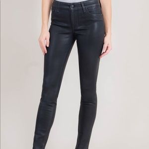 Black leather luxe coated level 99 jeans size 14